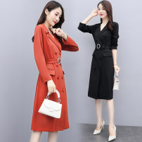 Dress Autumn 2020 Black, deep orange S,M,L,XL,2XL longuette singleton  Long sleeves commute V-neck middle-waisted Solid color double-breasted other routine Others Type A Korean version Frenulum