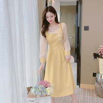 Dress Spring 2021 yellow S,M,L,XL Miniskirt Long sleeves commute Crew neck High waist Broken flowers Socket other routine 31% (inclusive) - 50% (inclusive) polyester fiber