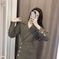 Dress Autumn 2020 Picture color S,M,L Short skirt singleton  Long sleeves commute tailored collar High waist Solid color double-breasted routine Others Korean version Button F4766 polyester fiber