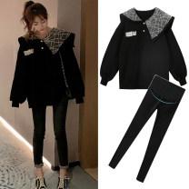 suit Other / other Black sweater, black sweater + black leggings M,L,XL,XXL Korean version Long sleeve + pants winter routine Solid color polyester Cotton liner
