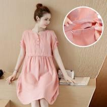 Dress Other / other Pink, blue M,L,XL,XXL Korean version Short sleeve Medium length summer V-neck Solid color Cotton and hemp