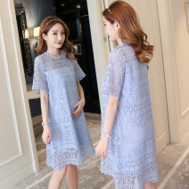 Dress Other / other Sky blue, apricot M,L,XL,XXL Original design Short sleeve Medium length summer Crew neck Solid color