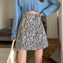 skirt Spring 2021 S,M,L Picture color Short skirt Versatile Natural waist A-line skirt Zebra pattern Type A 18-24 years old 8136# 31% (inclusive) - 50% (inclusive) other other 61G / m ^ 2 (including) - 80g / m ^ 2 (including)