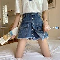 Jeans Spring 2021 blue S,M,L shorts High waist Knickerbockers routine Whitening Dark color