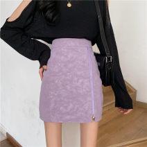 skirt Autumn 2020 S,M,L Off white, purple, black High waist Irregular