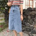 skirt Summer of 2019 S [90-100kg], m [100-110kg], l [110-120kg], XL [120-135kg], 2XL [135-150kg], 3XL [150-165kg], 4XL [165-175kg], 5XL [175-200kg] Light blue, off white Mid length dress commute High waist A-line skirt Solid color Type A 18-24 years old Coardiarn / Kuandian Korean version