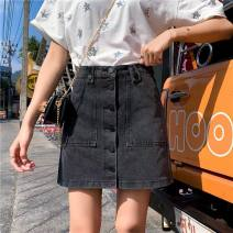 skirt Summer of 2019 S [90-100kg], m [100-110kg], l [110-120kg], XL [120-135kg], 2XL [135-150kg], 3XL [150-165kg], 4XL [165-175kg], 5XL [175-200kg] dark grey Short skirt commute High waist A-line skirt Type A 18-24 years old Coardiarn / Kuandian Korean version