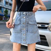 skirt Spring of 2019 S (90-100 Jin), m (100-110 Jin), l (110-120 Jin), XL (120-135 Jin), 2XL (135-150 Jin), 3XL (150-165 Jin), 4XL (165-175 Jin), 5XL [175-200 Jin] Off white, light blue Short skirt commute High waist A-line skirt Type A 18-24 years old Denim Coardiarn / Kuandian Korean version