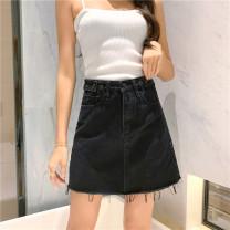 skirt Summer of 2019 S [90-100 Jin], m [100-110 Jin], l [110-120 Jin], XL [120-135 Jin], 2XL [135-150 Jin], 3XL [150-165 Jin], 4XL [165-175 Jin], 5XL [175-200 Jin] Light blue, black Short skirt commute High waist A-line skirt Type A 18-24 years old Denim Coardiarn / Kuandian Korean version