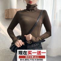 T-shirt White regular, black regular, khaki regular, white plush, black plush, khaki plush, match freely S [90-100 kg], m [100-110 Jin], l [110-120 Jin], XL [120-135 Jin], 2XL [135-145 Jin], 3XL [145-160 Jin], 4XL [160-175 Jin], 5XL [175-200 Jin] Winter of 2019 Long sleeves High collar easy routine