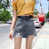 Jeans Summer of 2019 Light blue for belt, dark gray for belt S [90-100 kg], m [100-110 kg], l [110-120 kg], XL [120-135 kg], 2XL [135-150 Jin], 3XL [150-165 kg], 4XL [165-175 Jin], 5XL [175-200 Jin] shorts High waist Wide legged trousers routine 18-24 years old light colour Coardiarn / Kuandian