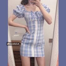 Dress Summer 2020 Blue Check Dress S [90-100kg], m [100-110kg], l [110-120kg], XL [120-135kg], 2XL [135-150kg], 3XL [150-165kg], 4XL [165-175kg], 5XL [175-200kg] Middle-skirt singleton  Short sleeve puff sleeve