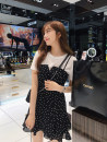 Dress Summer of 2019 Picture color suit S,M,L,XL Short skirt Two piece set Short sleeve commute Crew neck middle-waisted Dot zipper Ruffle Skirt routine camisole Type A Korean version 81% (inclusive) - 90% (inclusive) Chiffon other