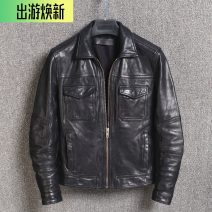 leather clothing Jianan Fashion City Wash old plant and knead the first layer of sheepskin 3XL,2XL,XL,L,M have cash less than that is registered in the accounts Leather clothes Lapel Slim fit zipper autumn leisure time youth Sheepskin Simplicity in Europe and America 16-22 Cloth hem
