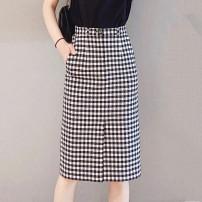 skirt Spring 2021 1 / XS, 2 / s, 3 / m, 4 / L, 5 / XL lattice Mid length dress Versatile High waist skirt lattice Type H 5200296-4K00521-001 51% (inclusive) - 70% (inclusive) Brother amashsin Cellulose acetate pocket