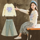 suit Other / other Beige Sequin yarn skirt letter printing set, black and white Long Sleeve Striped skirt female spring and autumn princess Long sleeve + skirt 2 pieces routine There are models in the real shooting Socket nothing other cotton children Expression of love Class B