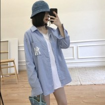 shirt Blue embroidered shirt, white T-shirt S,M,L,XL Autumn 2020 other 96% and above Long sleeves commute Medium length Polo collar Single row multi button routine Solid color Straight cylinder Korean version Embroidery, stitching, pockets, buttons