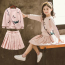 Dress Pink two-piece set, pink two-piece Set + bag, yellow two-piece Set + bag female Other / other 120cm,130cm,140cm,150cm,160cm Other 100% spring and autumn Korean version Long sleeves lattice cotton Pleats Pineapple suit Class B 10, 11, 12, 3, 4, 5, 6, 7, 8, 9