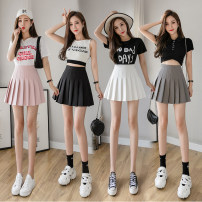 skirt Spring 2021 S,M,L,XL,2XL Black, white, gray, pink Short skirt commute High waist Pleated skirt Solid color Type A 25-29 years old 665# Korean version