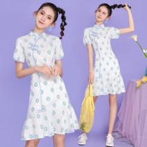 cheongsam Summer 2021 XXL,S,M,L,XL Green fishtail Short sleeve long cheongsam ethnic style daily Oblique lapel scenery 18-25 years old Piping