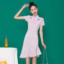 cheongsam Summer 2021 S,M,L,XL lilac colour Retro lattice A325