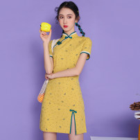cheongsam Summer 2021 S. M, l, XL, the fabric is cotton and hemp, it will shrink a little Yellow, orange Short sleeve Short cheongsam literature Low slit daily Oblique lapel Dot 18-25 years old Piping