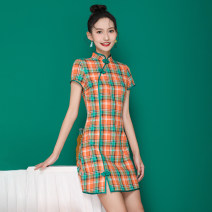 cheongsam Summer 2021 S,M,L,XL green Short sleeve Retro Low slit daily 18-25 years old Piping A326