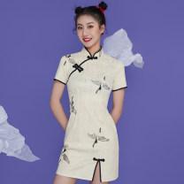 cheongsam Summer 2021 S,M,L,XL Short sleeve Short cheongsam Retro Low slit daily Oblique lapel Decor 18-25 years old Piping polyester fiber