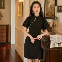 cheongsam Summer 2021 S,M,L,XL black Short sleeve Short cheongsam Low slit daily Oblique lapel Solid color 18-25 years old Piping hemp