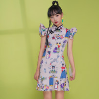 cheongsam Spring 2021 S,M,L,XL Picture color Short sleeve Short cheongsam Retro Low slit daily Oblique lapel Decor 18-25 years old Piping