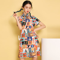 cheongsam Summer 2021 XXL,XXXL,S,M,L,XL Decor Short sleeve Short cheongsam No slits daily Oblique lapel Abstract pattern 18-25 years old Piping polyester fiber