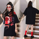 cheongsam Summer 2021 S,M,L,XL black Short sleeve ethnic style Low slit Animal pattern 18-25 years old