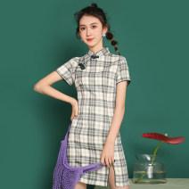 cheongsam Summer 2021 S,M,L,XL Green grid, red grid, blue grid, purple black grid Short sleeve Retro Low slit lattice 18-25 years old 5353 in stock
