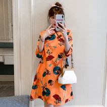 cheongsam Summer 2021 XXL,XXXL,M,L,XL,4XL Orange Short sleeve Short cheongsam grace No slits daily Oblique lapel Animal design 18-25 years old Piping cotton 96% and above