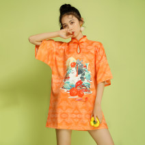 Dress Summer 2020 yellow S,M,L,XL,2XL,3XL Middle-skirt singleton  Short sleeve commute stand collar middle-waisted Cartoon animation Socket other Bat sleeve Others 18-24 years old Type A Other / other ethnic style printing 51% (inclusive) - 70% (inclusive) brocade cotton