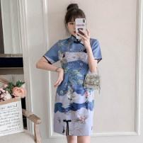 cheongsam Summer 2021 XXL,XXXL,M,L,XL,4XL Navy Blue Short sleeve Short cheongsam Retro No slits daily Oblique lapel other 25-35 years old Piping cotton 96% and above