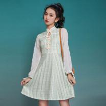 cheongsam Spring 2021 XXL,S,M,L,XL Light green lattice Long sleeves ethnic style lattice 18-25 years old cotton 81% (inclusive) - 90% (inclusive)