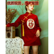 cheongsam Spring 2021 Picture color Long sleeves Retro Low slit Company annual meeting character 18-25 years old Embroidery
