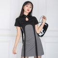 Dress Spring 2021 Black ash S,M,L Short skirt singleton  Short sleeve commute stand collar High waist Solid color Socket A-line skirt routine 25-29 years old Type A zipper polyester fiber