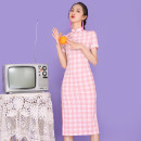 cheongsam Summer 2021 XXL,S,M,L,XL Pink check Short sleeve long cheongsam Retro Low slit Oblique lapel lattice 18-25 years old Other / other cotton 81% (inclusive) - 90% (inclusive)