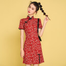 cheongsam Summer 2021 S,M,L,XL Decor Short sleeve Short cheongsam ethnic style Low slit daily Decor 18-25 years old Piping Other / other cotton 81% (inclusive) - 90% (inclusive)