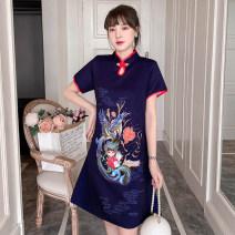 cheongsam Summer 2021 XXL,XXXL,M,L,XL,4XL navy blue Short sleeve Short cheongsam Retro No slits daily Oblique lapel Animal design 18-25 years old Embroidery cotton 96% and above