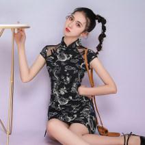 cheongsam Summer 2021 XXL,S,M,L,XL golden dragon Short sleeve Short cheongsam ethnic style Low slit daily Oblique lapel Animal design 18-25 years old cotton 51% (inclusive) - 70% (inclusive)