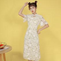 cheongsam Summer 2021 XXL,XXXL,S,M,L,XL Light green Short sleeve long cheongsam grace Low slit daily Decor 18-25 years old 1637#