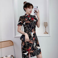 cheongsam Summer 2021 XXL,XXXL,M,L,XL,4XL black Short sleeve Short cheongsam grace No slits daily Oblique lapel lattice 18-25 years old Piping silk 81% (inclusive) - 90% (inclusive)