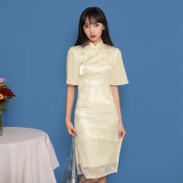 cheongsam Spring 2021 S,M,L,XL Short sleeve long cheongsam Retro Low slit daily Semicircle lapel Solid color 18-25 years old Piping