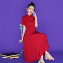 cheongsam Summer 2021 S,M,L,XL,2XL claret Short sleeve long cheongsam ethnic style No slits Solid color 18-25 years old other 51% (inclusive) - 70% (inclusive)