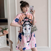 cheongsam Summer 2021 XXL,XXXL,M,L,XL,4XL Pink Short sleeve Short cheongsam Retro High slit daily Round lapel Big flower 25-35 years old Piping cotton 96% and above