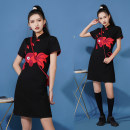 cheongsam Spring 2021 S,M,L,XL black Short sleeve Short cheongsam Retro Low slit daily Oblique lapel Solid color 18-25 years old Piping 1603 in stock polyester fiber