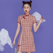 cheongsam Spring 2021 S,M,L,XL Short sleeve Single cheongsam Retro No slits daily 25-35 years old Piping Show the Tang Dynasty